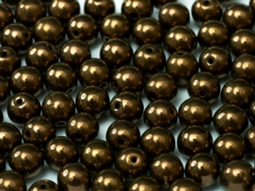 3mm Round Glass Beads, Bronze (Qty: 50)