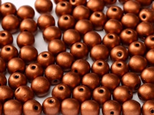 3mm Round Glass Beads, Copper (Qty: 50)