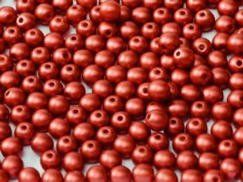 3mm Round Glass Beads, Metallic Red (Qty: 50)