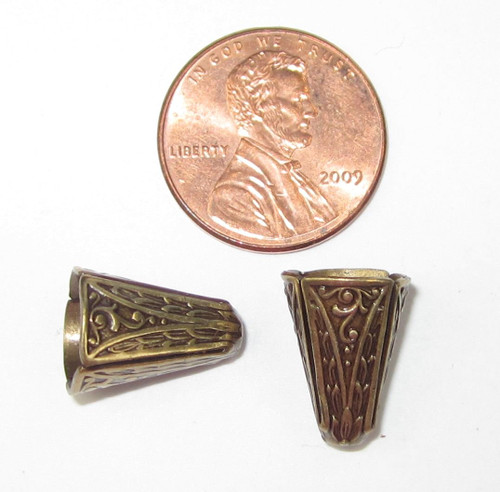 Art Deco Narrow End Caps, Antique Brass, ID 8.5mm (Qty: 2)