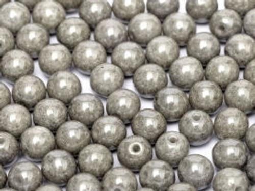 3mm Round Glass Beads, Pastel Light Grey (Qty: 50)