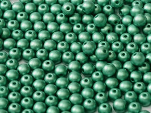 3mm Round Glass Beads, Green Turquoise (Qty: 50)