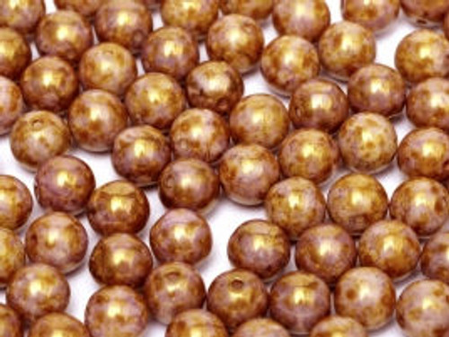 4mm Round Glass Beads, Lilac Gold Luster (Qty: 50)