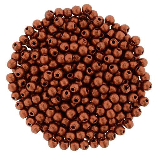 2mm Round Glass Beads (Druks), Matte Metallic Antique Copper (Qty: 50)