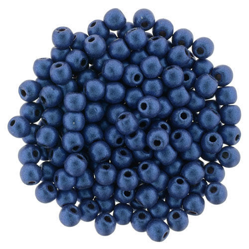 2mm Round Glass Beads (Druks), Blue Metallic Suede (Qty: 50)