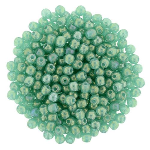 2mm Round Glass Beads (Druks), Atlantic Green Luster Iris (Qty: 50)