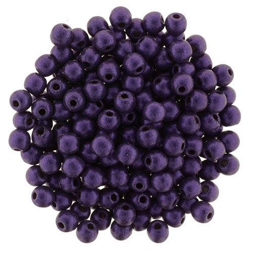 2mm Round Glass Beads (Druks), Purple Metallic Suede (Qty: 50)