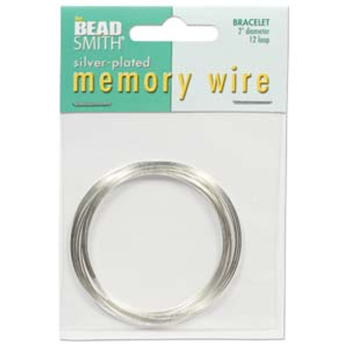 """Memory Wire - Round Bracelet - 2"""" (Small) - Silver (12 loops)"""