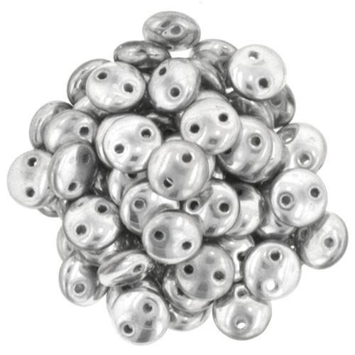2-Hole Lentils, Silver (Qty: 50)