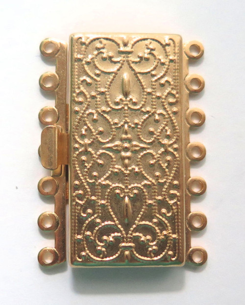 7 Strand Gold Plated Brass Box Clasp (Qty: 1)