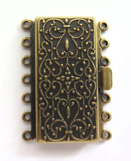 7 Strand Antique Brass Box Clasp (Qty: 1)