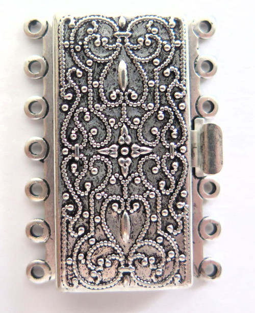 7 Strand Silver Plated Box Clasp (Qty: 1)