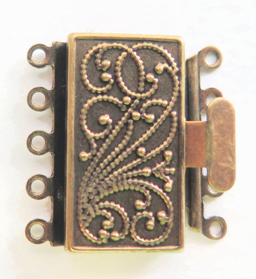 5 Strand Antique Brass Box Clasp (Qty: 1)