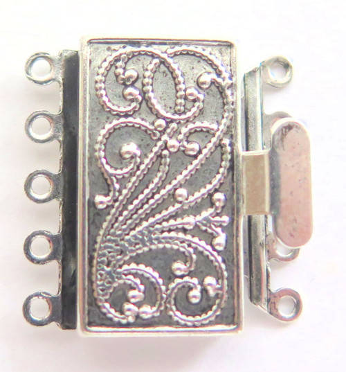 5 Strand Silver Plated Box Clasp (Qty: 1)