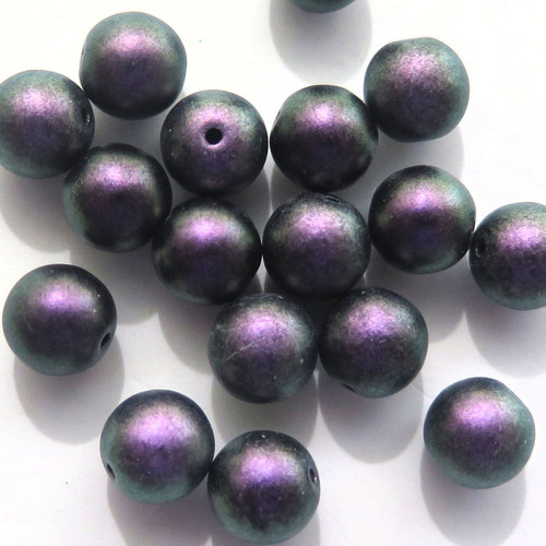 8mm Round Glass Beads, Polychrome Black Currant (Qty: 25)