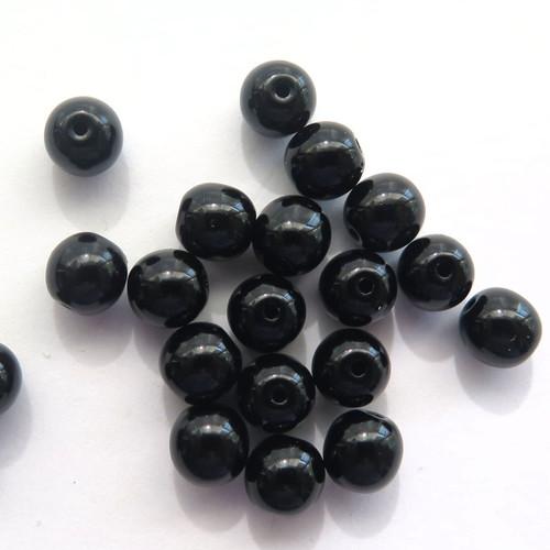 6mm Round Glass Beads, Jet (Qty: 25)