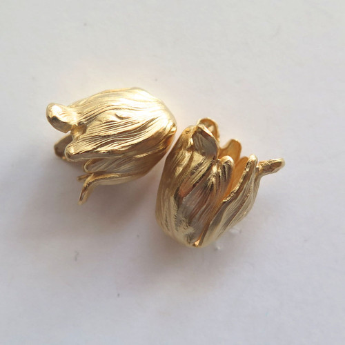 Petite Tulip End Caps, Matte Gold-Plated, ID 8mm (Qty: 2)