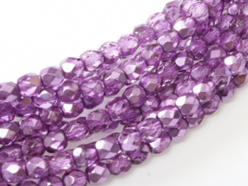 3mm Fire Polish, Purple Metallic Ice (Qty: 50)