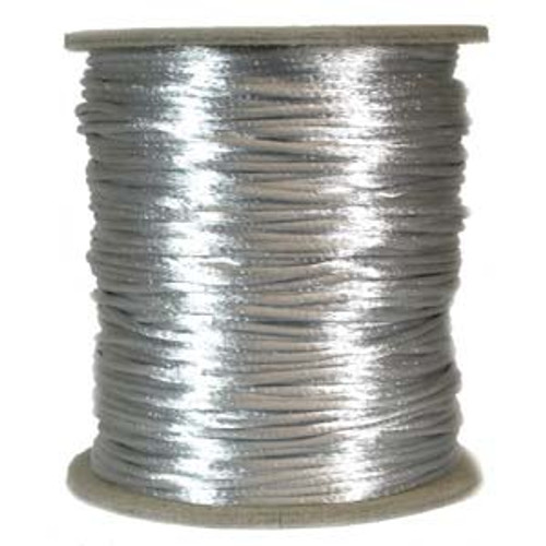 2mm Satin Cord (Rattail), Silver (6 yds.)