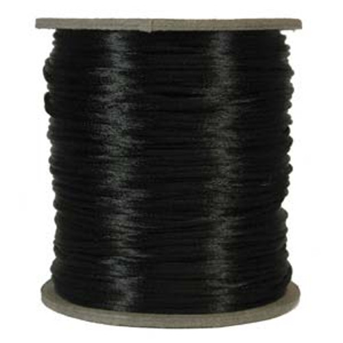 2mm Satin Cord (Rattail), Black (6 yds.)