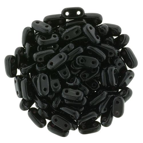 2-Hole Bar Beads, Jet (10 gr.)