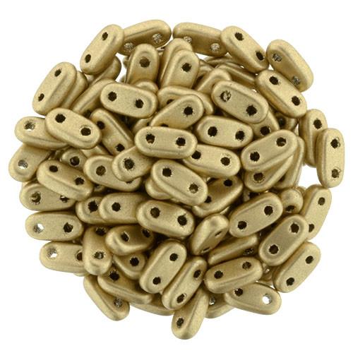 2-Hole Bar Beads, Matte Metallic Flax (10 gr.)