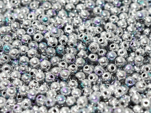 6mm Round Glass Beads, Glittery Silver (Qty: 25)