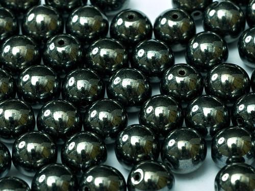 6mm Round Glass Beads, Hematite (Qty: 25)