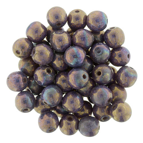 6mm Round Glass Beads, Opaque Bronzed Smoke Luster (Qty: 25)
