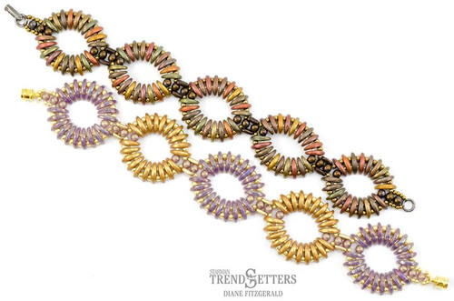 FREE Pattern with $15 Minimum Purchase: Rippling Ovals Bracelet with CzechMate 2-Hole Crescents & Bars (Limit: 3 patterns per order)