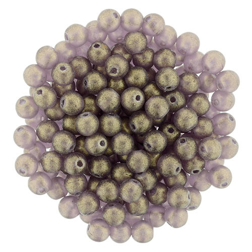 4mm Round Glass Beads, Sueded Gold Amethyst (Qty: 50)