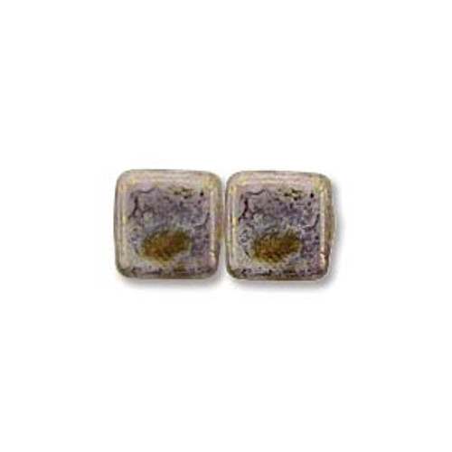 2-Hole Tile Beads, Alabaster Luster Trans Gold (Qty: 25)