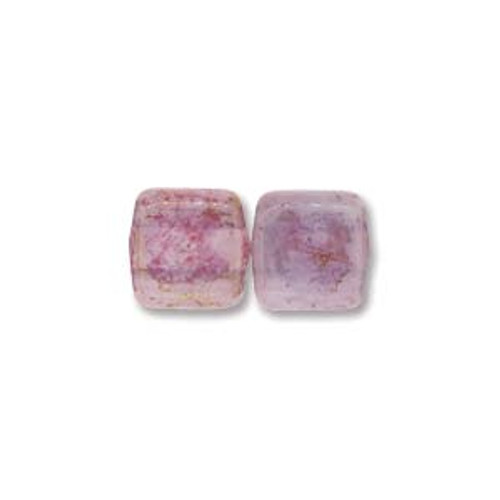 2-Hole Tile Beads, Milky Pink Topaz Luster (Qty: 25)