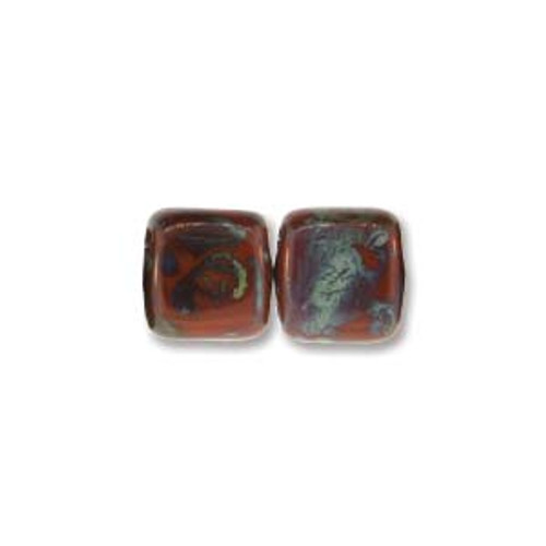 2-Hole Tile Beads, Umber Picasso (Qty: 25)