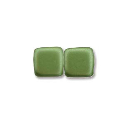 2-Hole Tile Beads, Olive Green (Qty: 25)