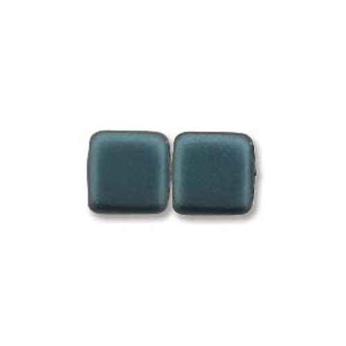 2-Hole Tile Beads, Dark Turquoise (Qty: 25)