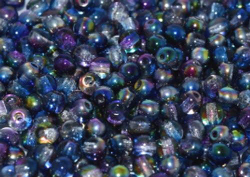 6mm Round Glass Beads, Magic Blue (Qty: 25)