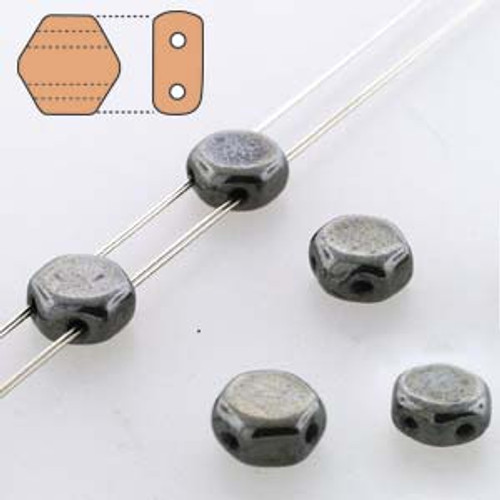 2-Hole Honeycomb Beads, Hematite (Qty: 30)