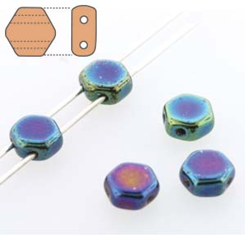 2-Hole Honeycomb Beads, Blue Iris (Qty: 30)