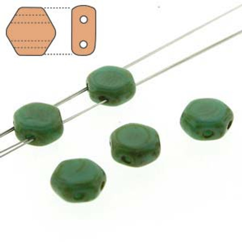 2-Hole Honeycomb Beads, Green Turquoise Dark Travertine (Qty: 30)
