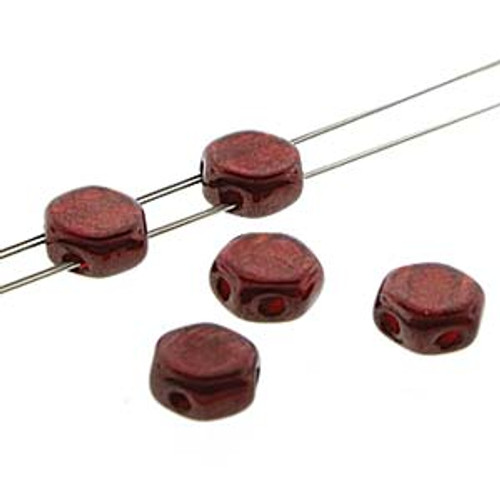 2-Hole Honeycomb Beads, Ruby Red Wine (Qty: 30)