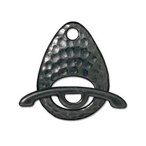 TierraCast Black Plated Hammered Ellipse Toggle Clasp (Qty: 1)