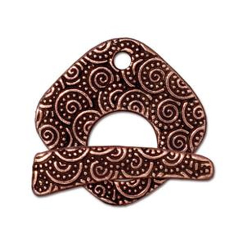 TierraCast Copper Plated Large Swirl Toggle Clasp (Qty: 1)