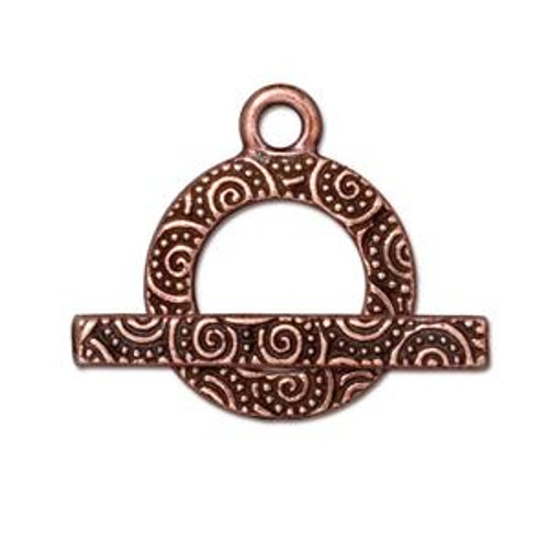 TierraCast Copper Plated Small Swirl Toggle Clasp (Qty: 1)