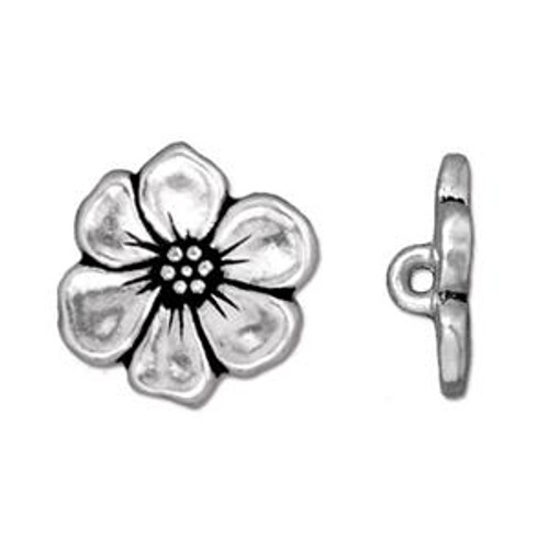 TierraCast Apple Blossom Button, Antique Silver-Plated (Qty: 1)
