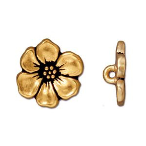 TierraCast Apple Blossom Button, Antique Gold-Plated (Qty: 1)
