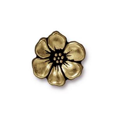 TierraCast Apple Blossom Button, Antique Brass (Qty: 1)