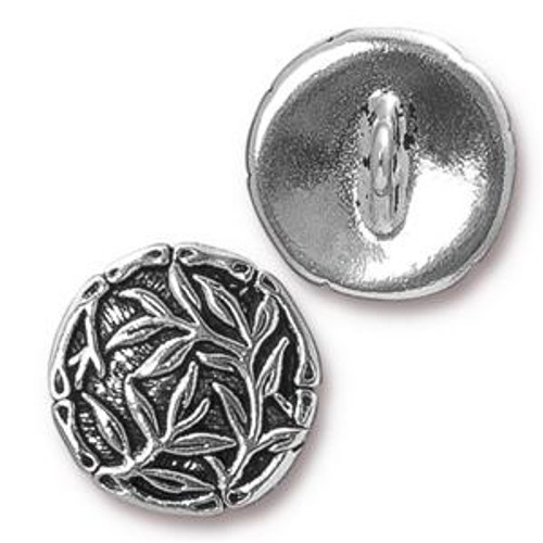 TierraCast Button - Bamboo, Antique Silver Plated (Qty: 1)