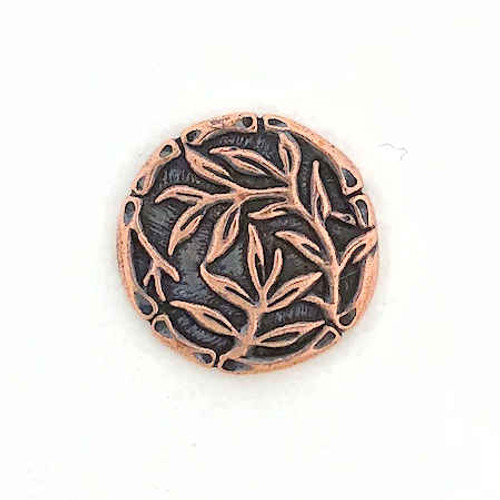 TierraCast Button - Bamboo, Antique Copper Plated (Qty: 1)