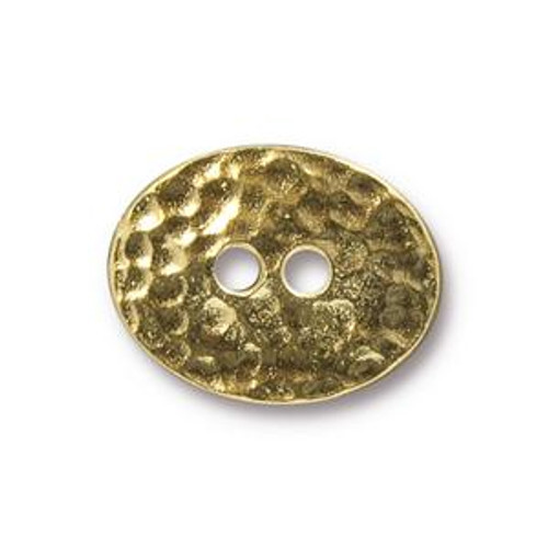 TierraCast Button - Distressed Oval, Gold Plated (Qty: 1)